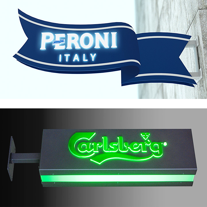 Key Company | EXTERIOR | Metal faced signs | Peroni and Carlsberg